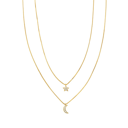 Stella Necklace Gold Moon & Star - Shop Cameo Ltd