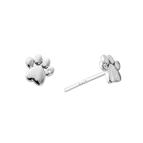 Darcy Paw Print Stud Earrings Silver - Shop Cameo Ltd