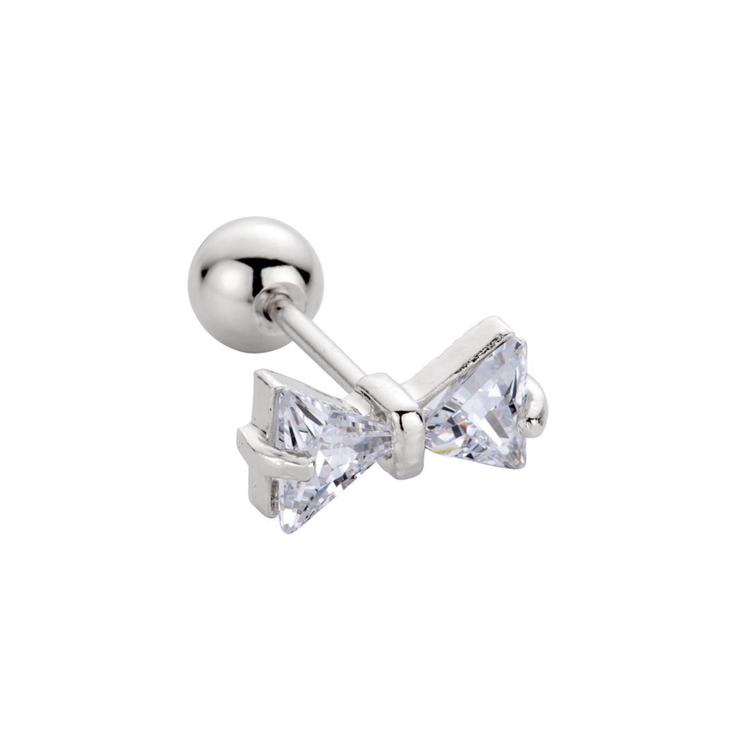 Silver Bow Barbell Earring