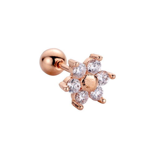 Rose Gold Daisy Barbell Earring