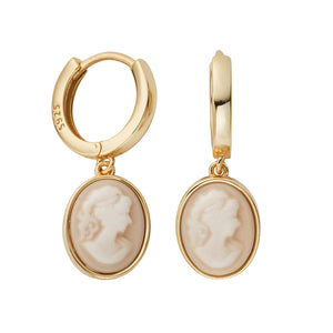 Daphne Gold Cameo Hoop Earrings - Shop Cameo Ltd