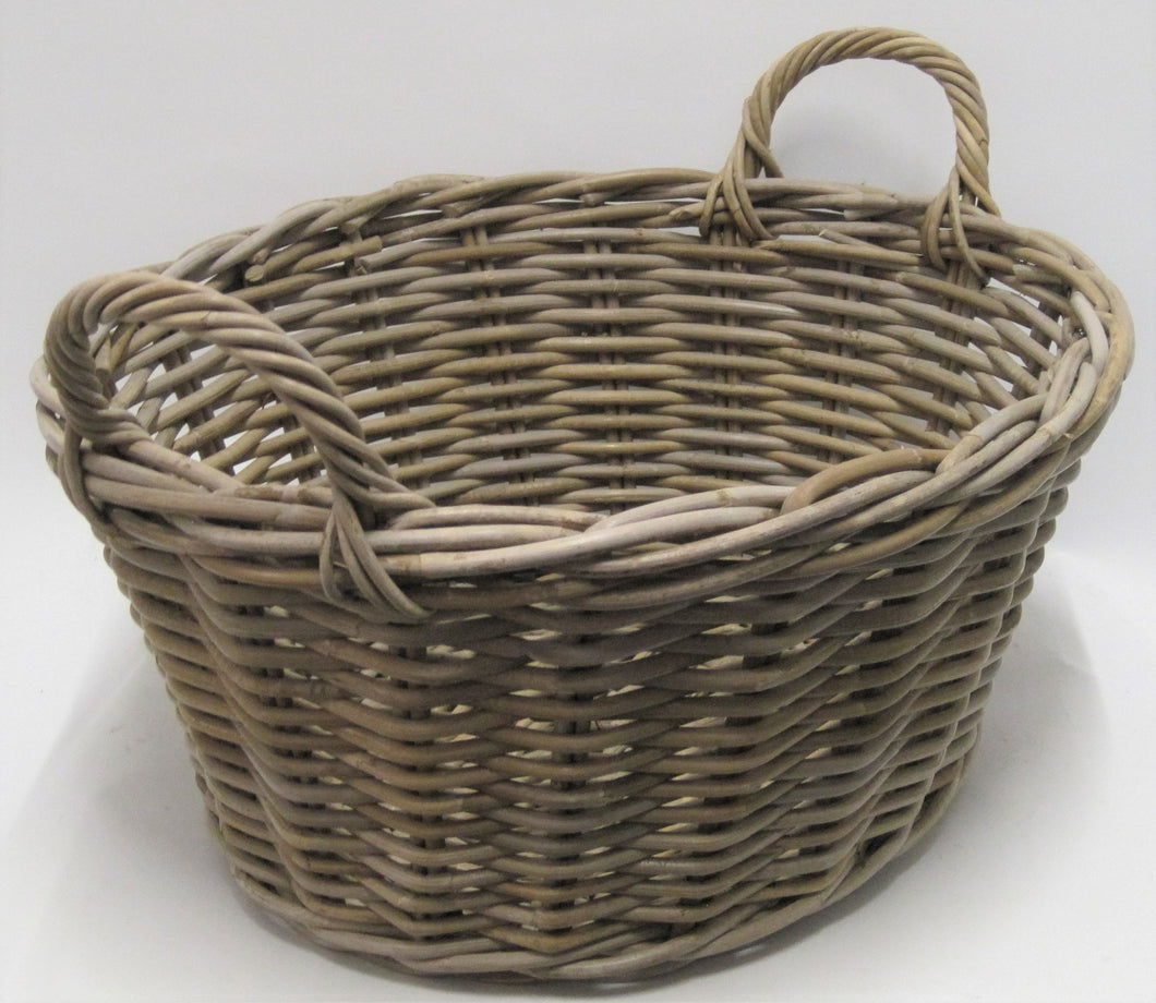 Oval Kabu Grey Rattan Washing Basket
