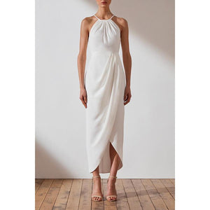Core High Neck Ruched Dress - Ivory