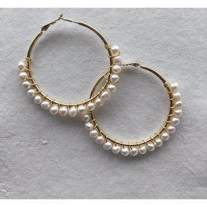 Large Pearl Edged Hoops