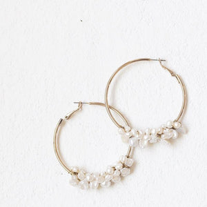 Fresh Water pearl hoops large -A.B. Ellie