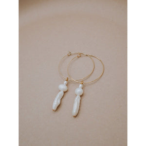 Gold Hoop with Fresh Water Pearls Dangling