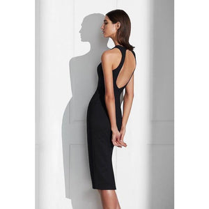 Lucy Backless Midi Dress Black