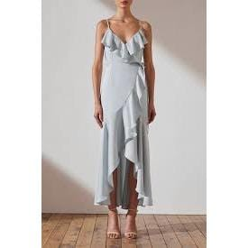 Luxe Bias Frill Wrap Dress | Cloud | Shona Joy