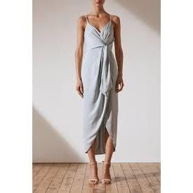 Luxe Tie Front Cocktail Dress | Cloud | Shona Joy