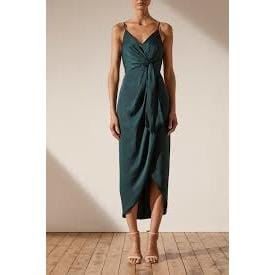 Luxe Tie Front Cocktail Dress | Emerald | Shona Joy