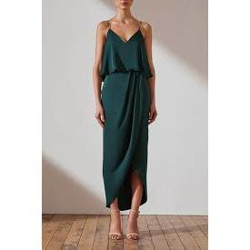 Luxe Cocktail Frill Dress | Emerald | Shona Joy