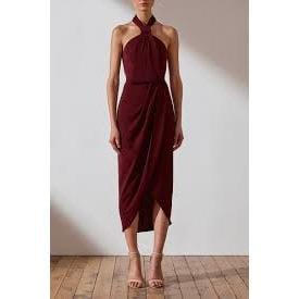Core Knot Draped Dress | Burgundy | Shona Joy