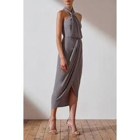 Core Knot Draped Dress | Grey | Shona Joy