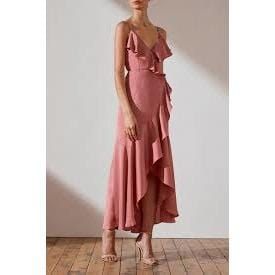 Luxe Bias Frill Wrap Dress | Rose | Shona Joy