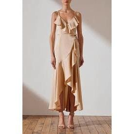 Luxe Bias Frill Wrap Dress | Champagne | Shona Joy