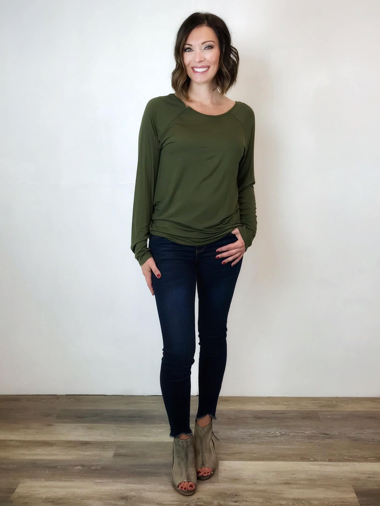 T-Back Raglan Top: Olive