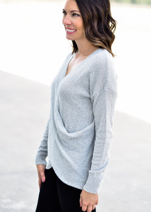 TOUCH OF LINEN SWEATER: GREY