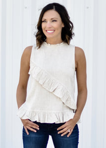 Asymmetrical Ruffle Top:Oatmeal