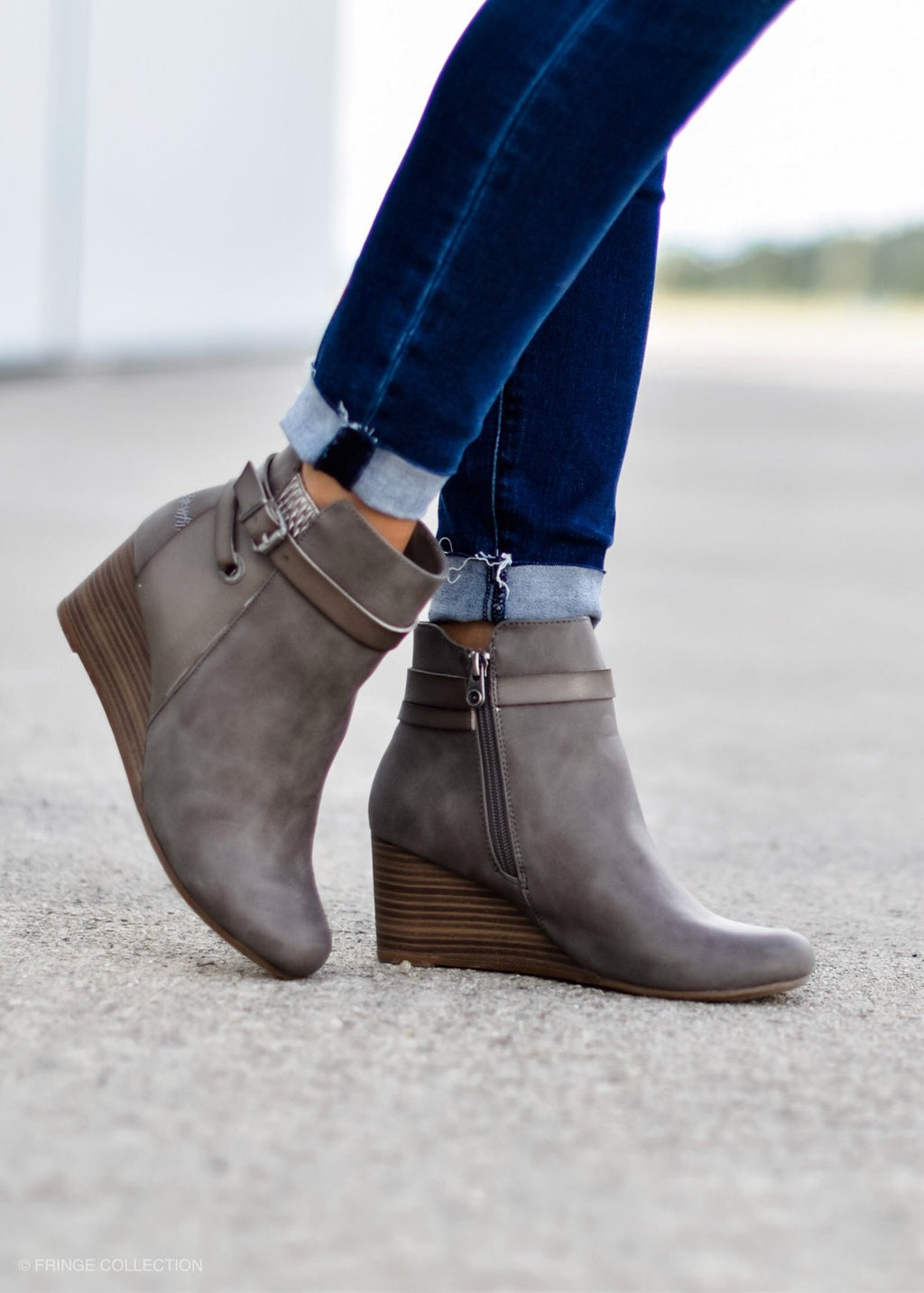 BUCKLE UP BOOTIE GREY--FINAL SALE