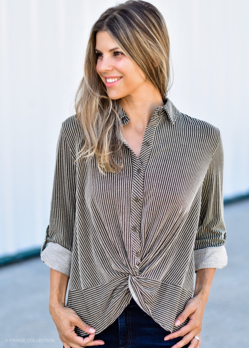 CAMILLA TWIST TOP OLIVE