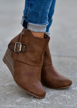 BUCKLED UP CHESTNUT BOOTIE--FINAL SALE