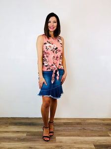 Tie Front Rose Print Top:Peach