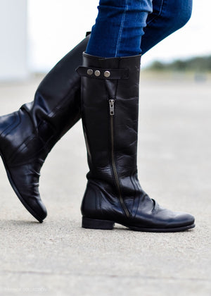 LUCKY LEATHER BLACK BOOT--FINAL SALE