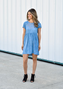 CHAMBRAY DRESS WITH EMBROIDERY