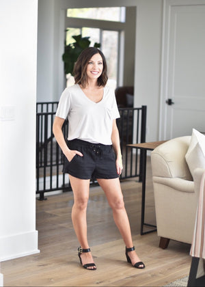 Summer Linen Shorts:Black