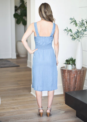 Button Up Tencel Dress: Blue