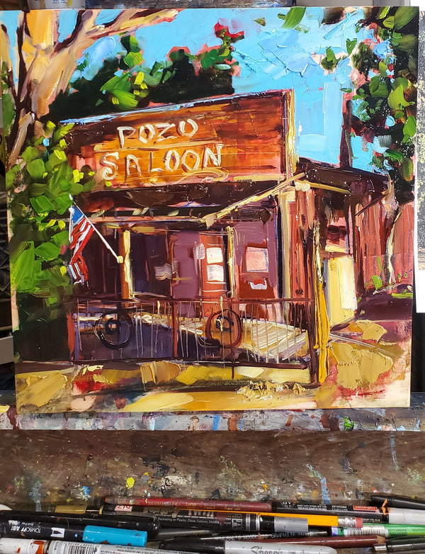 Pozo Saloon | 12×12 | Original oil on wood