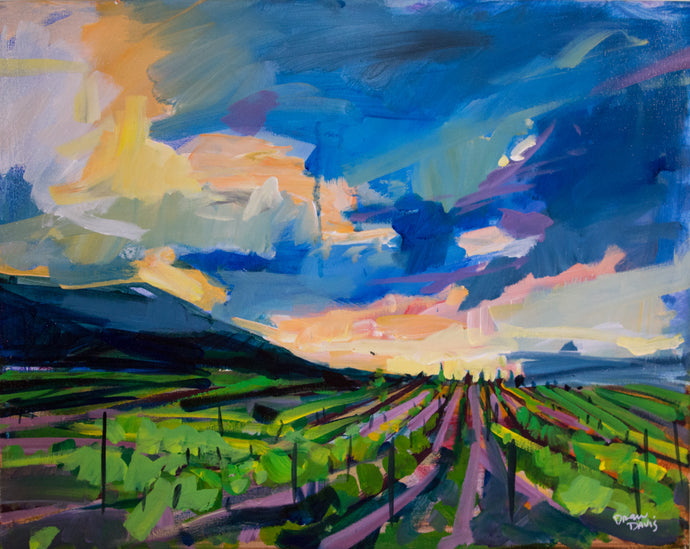 Vineyard Sunset | 16x20 | Original Acrylic Study on Canvas