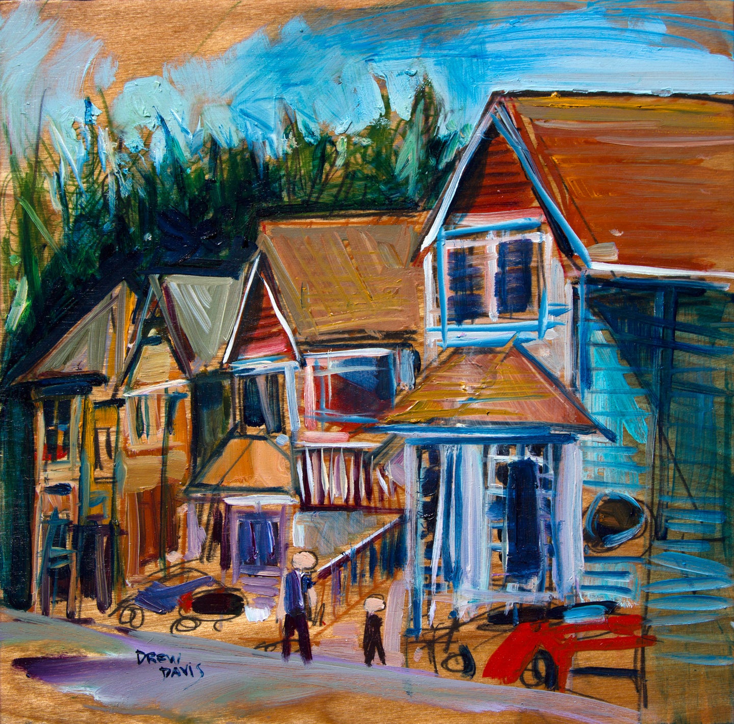 Burton Street - Cambria | 12x12 | Original Oil on Wood - Framed