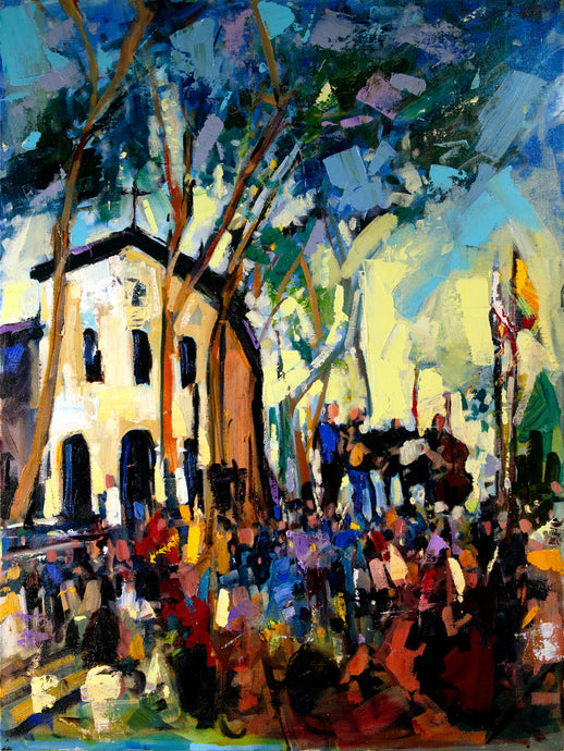 Concerts in the Plaza | 18x24 | Original Oil on Canvas