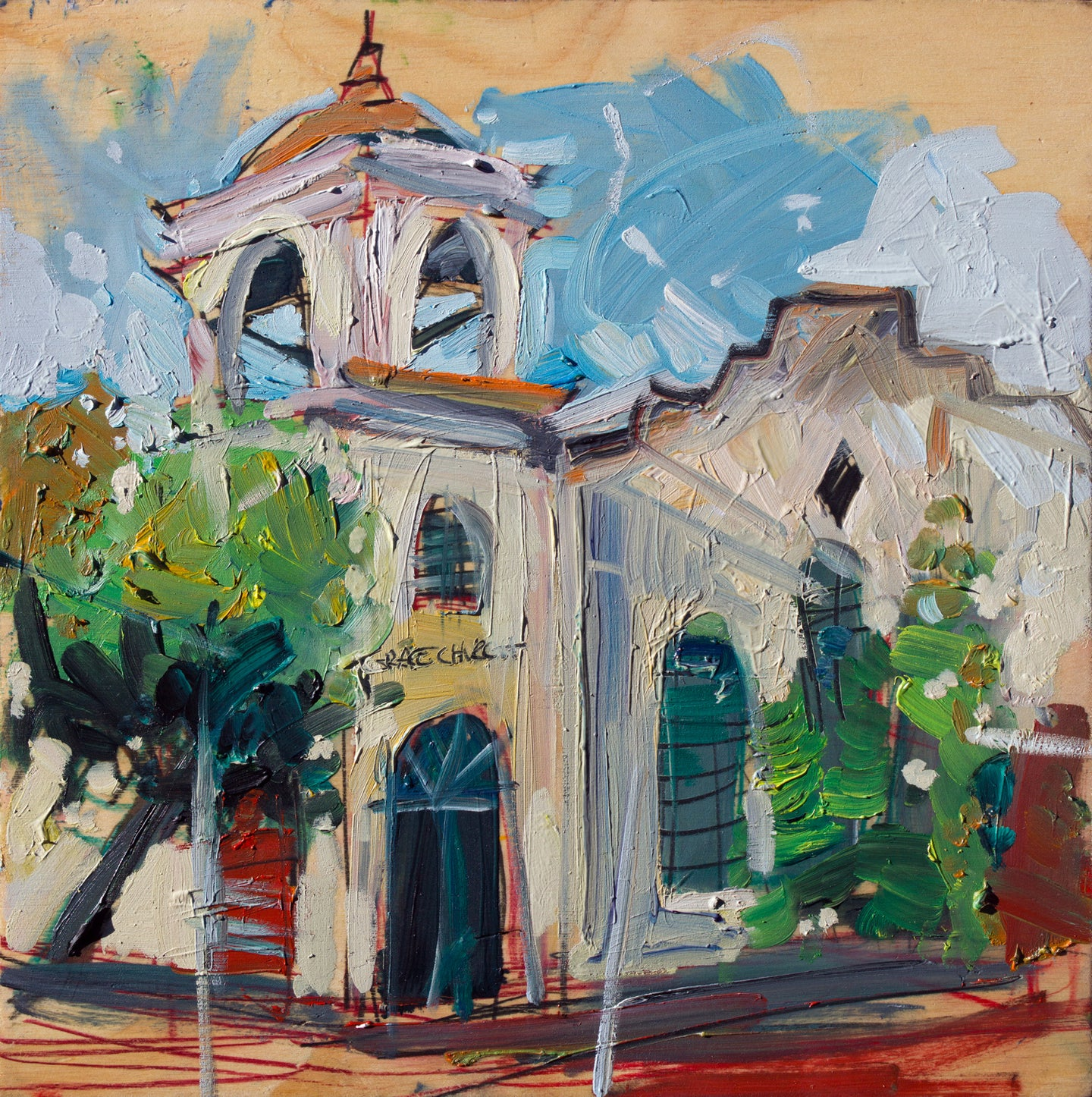 Grace Church SLO | 12x12 | Original Oil on Wood