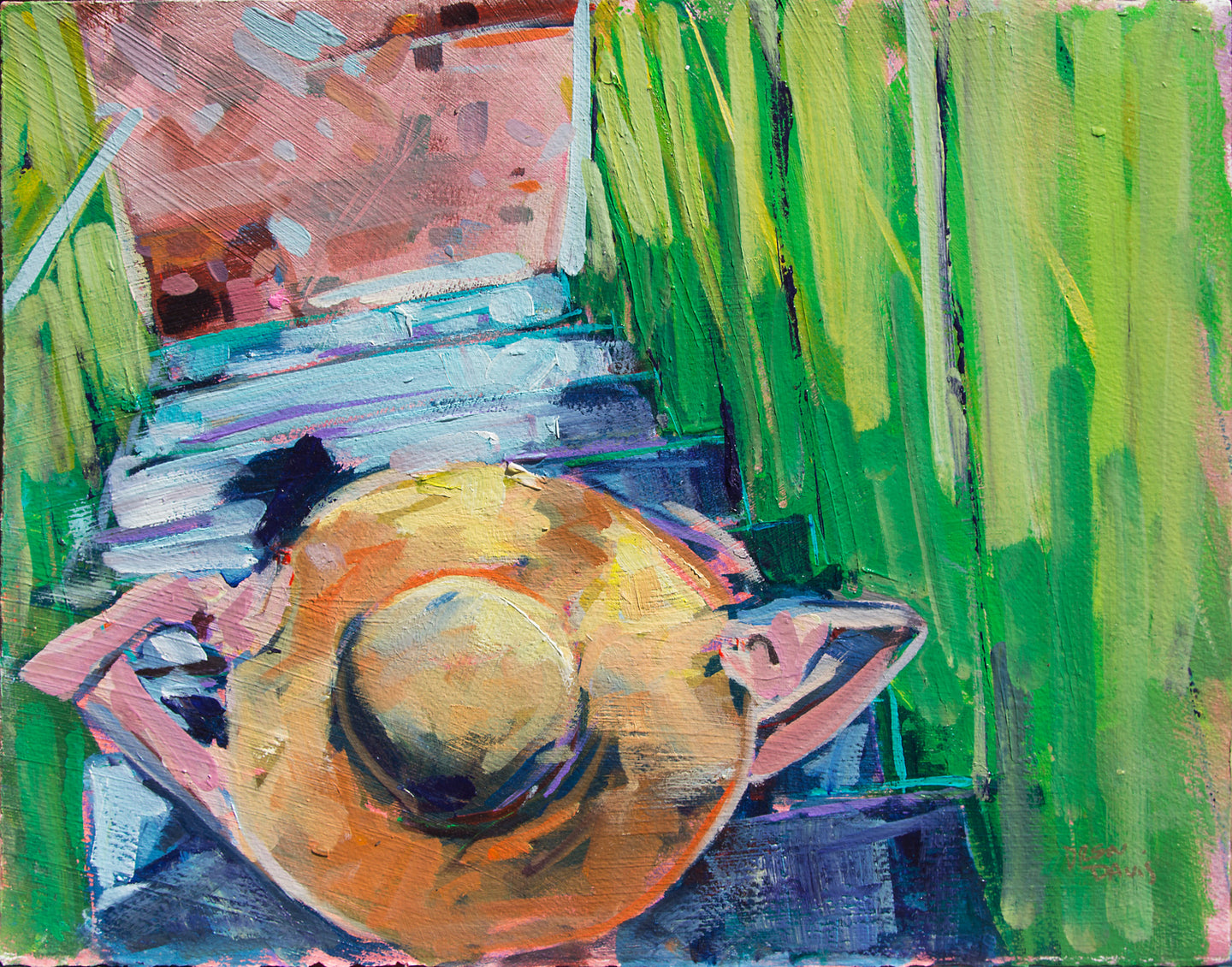 Girl with Hat | 11x14 | Original Acrylic on Paper
