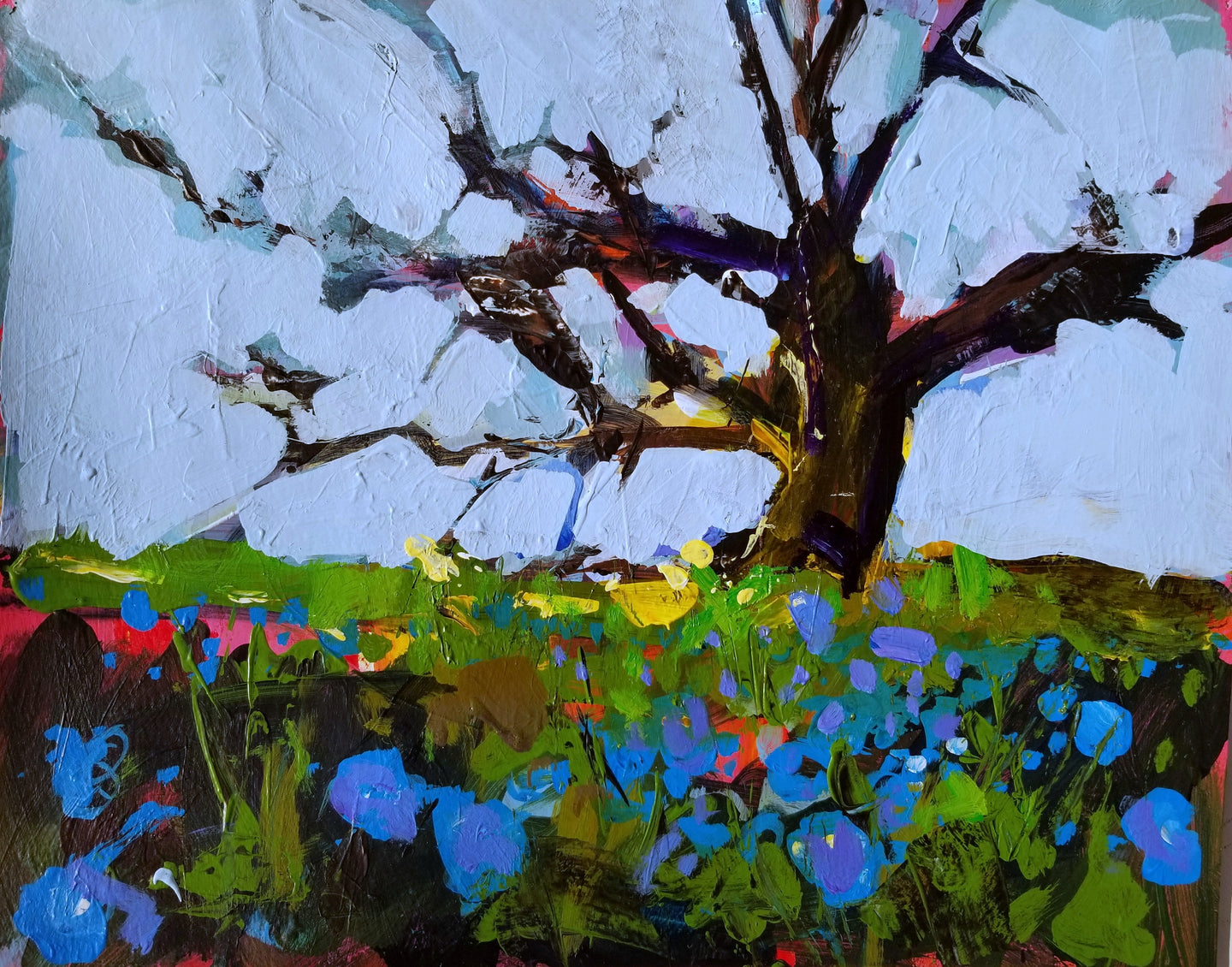 Shell Creek Rd wildflowers | 11x14 | Original Acrylic on Paper