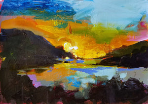 Whale Rock Reservoir Sunset | 11x14 | Original Acrylic on Paper