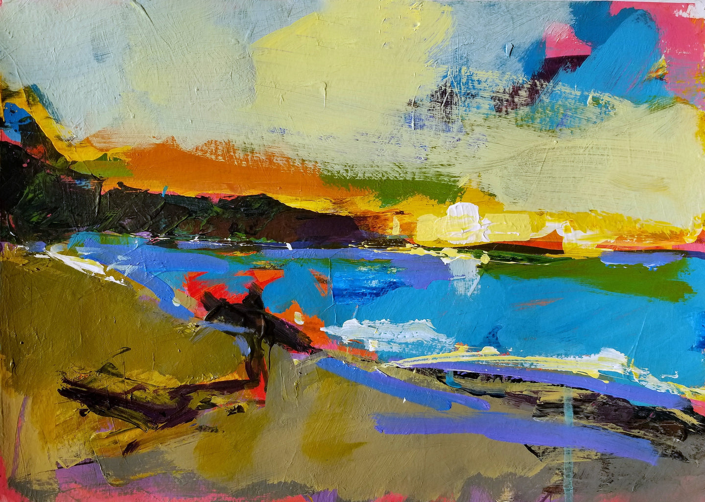 Sunset surf | 11x14 | Original Acrylic on Paper