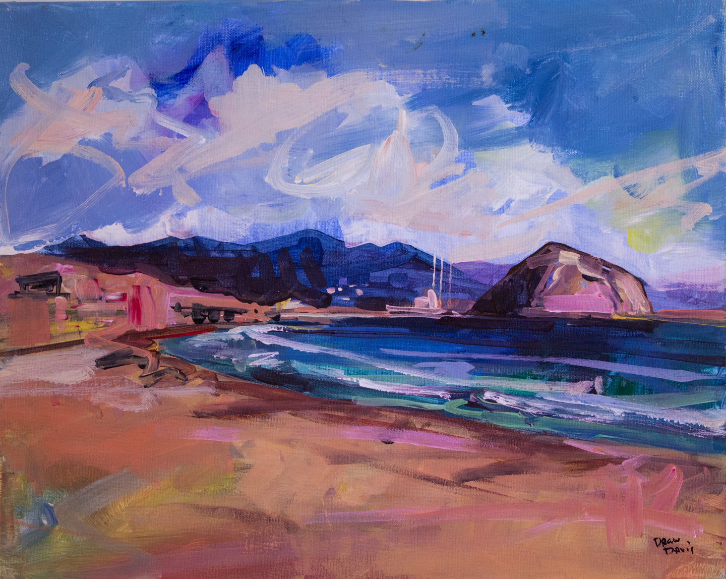 MORRO ROCK FROM CAYUCOS PIER | 16x20 | Original Acrylic Study on Canvas