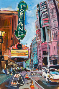Portland Theater  | 24x36 | Original Oil on Wood Panel