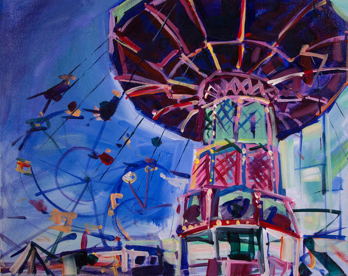 Swings at the Fair 2 | 16x20 | Original Acrylic Study on Canvas