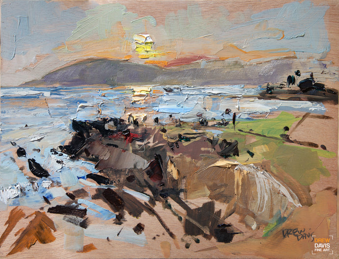 Shell Beach Sunset | 9x12 | Original Oil on Wood Panel