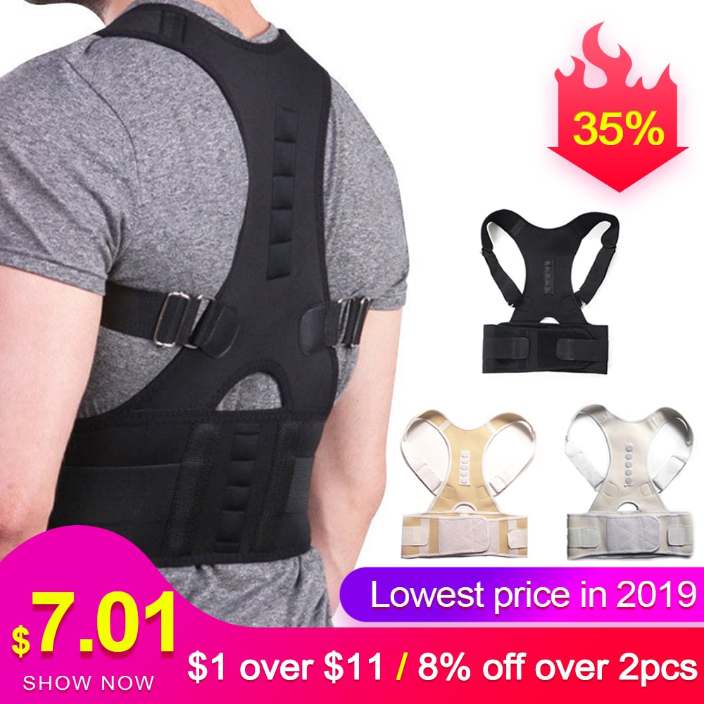 Male Female Adjustable Magnetic Posture Corrector Corset Back Brace Back Belt Lumbar Support Straight Corrector de espalda S-XXL