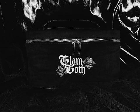 GLAM GOTH BEAUTY BLACK VORTEX VELVET VANITY BAG