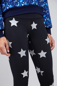 Terez Foil Legging - Black with Silver Stars
