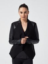 Load image into Gallery viewer, Blanc Noir Drape Front Jacket-Black Moto Leather