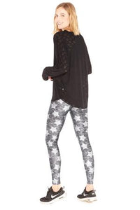 Terez Tall Band Legging - Heathered Grey Stars