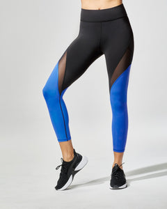 MICHI Inversion Crop Legging - Royal Blue / Black