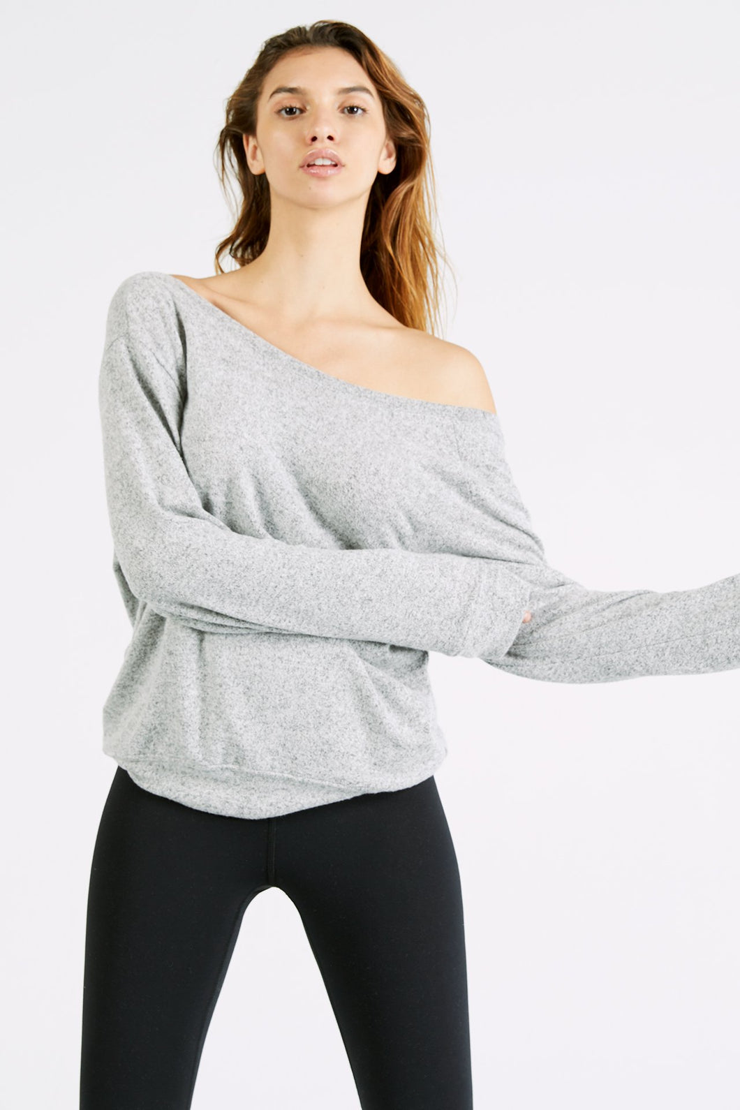 Joah Brown Seeker Off the Shoulder Sweater -Salt and Pepper